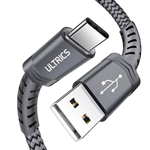 ULTRICS USB C Kabel 2M, Typ C auf USB 3.0 Nylon geflochtenes Ladekabel, Schnell Sync Datenkabel Kompatibel mit Samsung Galaxy S10/ S9/ S8 Plus, Note 9/8, Sony Xperia, LG, HTC, Pixel - Grau