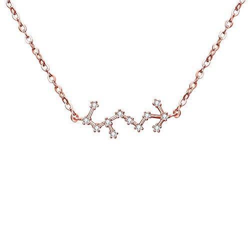 Clearine Halskette Damen 925 Sterling Silber Cubic Zirconia 12 Sternbilder Sternzeichen Horoskop \'\'Skorpion\'\' Anhänger Hals-Schmuck Rose-Gold-Ton