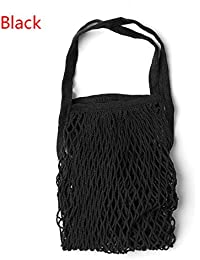 Black : New Reusable String Shopping Grocery Bag Shopper Tote Mesh Net Woven Cotton Bag Drawstring Hangable Rolling...