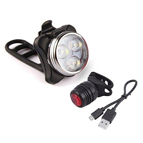 Wiederaufladbare LED Fahrradlampe, Wasserdicht LED Frontlicht und Rücklicht Für Fahrrad ,2 USB-Kabel Fahrradbeleuchtung, 3 Licht-Modi LED Fahrradlicht Set (Weiß)