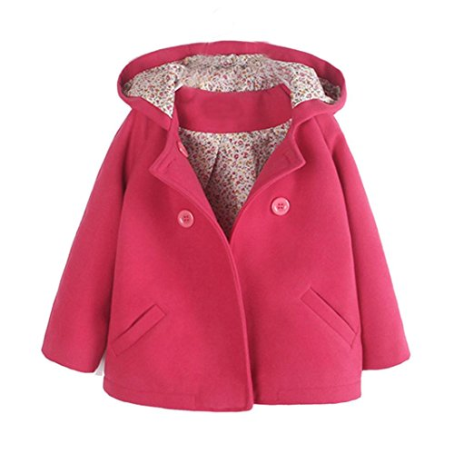 TPulling Mode Herbst Und Winter Mädchen Wollene Kapuzenjacke Trenchcoat Warme Kleidung Top Shirt Pullover Mantel Kleid Jacke Dicke Outfits (Pink, (Trenchcoat Ideen Halloween Kostüme)