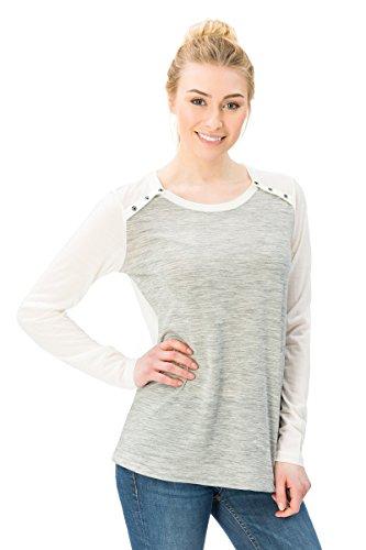 super.natural Leichtes Damen Langarm-Shirt, Mit Merinowolle, W COMFORT LOOP LS, XL, Hellgrau/Weiß -