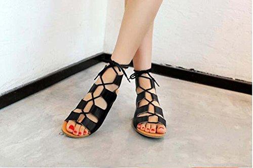 Beauqueen Pompe delle donne dei sandali primavera e lestate piatto Hollow Lace sandali femminili pattini casuali speciale Size Dimensione Europa 32-43 Black