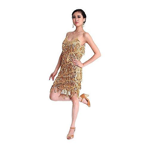 SymbolLife Vestido latino de la danza, Rumba Salsa Samba Tango Ritmo atractivo de la borla de lentejuelas de baile latino vestido de lujo Oro