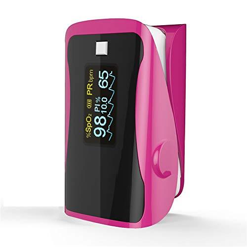 ZHQIOX Household Health Monitors Pulse Oximeters Finger Oxygen Fingertip Pulse Oximeter SPO2 Finger Oximetro-Pink 04 (Color : Pink)