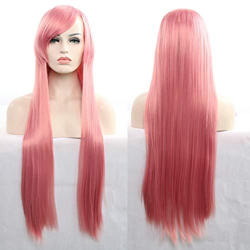 Perücken-32Inch/80CM Langes Gerades Haar 100% Hitzebeständige Perücke Für Cosplay/Halloween Party Kostüm Inklusive WIG Care 4 Stück Set,Pink