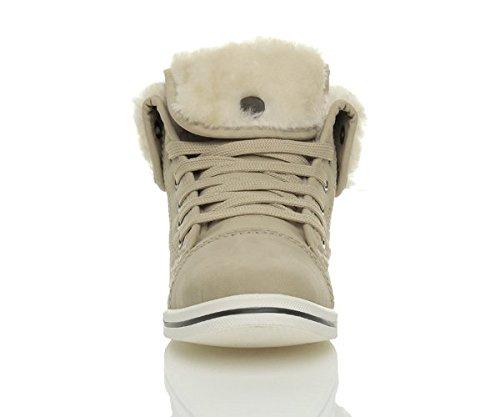 Damen Winter Sneakers Mit Pelz Schnürer Hochschaft Turnschuhe Sportschuhe Größe Beiges Fell