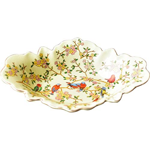 WOAINI Obstschale Obstkorb-Stil Pastoral Obstteller Keramik Obstschale Vintage Keramik Obstschale Kompott (Farbe: gelb) Vintage-kompott