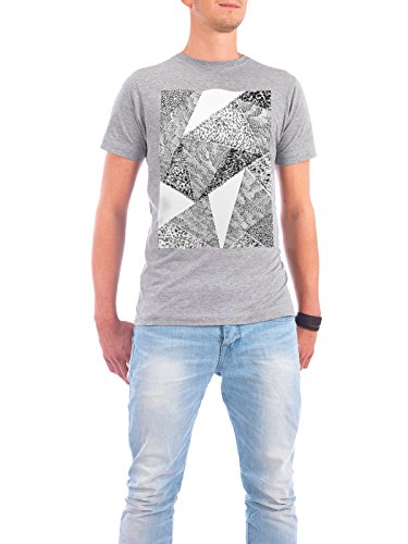 "Design T-Shirt Männer Continental Cotton ""White Triangle 01"" - stylisches Shirt Abstrakt Geometrie Natur Fashion von Sarah Plaumann Grau"