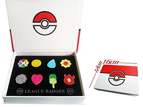 Pokemon Kostüm Asche - Pokemon Gym Badges set of 8PCS (Red)