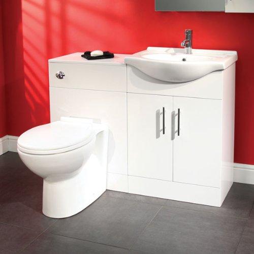 55 bathroom wc combination unit modern white design reversible vanity basin and toilet. Black Bedroom Furniture Sets. Home Design Ideas