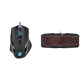 Sharkoon Skiller SGM1 Gaming Maus mit Makrotasten (10800 DPI, 12 Tasten, Weight-Tuning-System und Software) schwarz & Skiller Pro Plus beleuchtete Gaming Tastatur schwarz