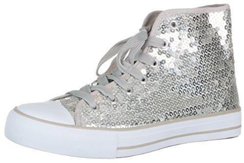 Brandsseller Damen Sneaker Pailletten Halbhoch/Damenschnürer/Damenboots - Farbe: Silber - Größe: 38