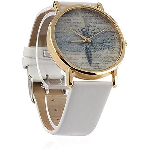acmebuy (TM) Lady Retro Dragonfly pintado Dial PU cuero banda cuarzo analógico muñeca relojes reloj nieve