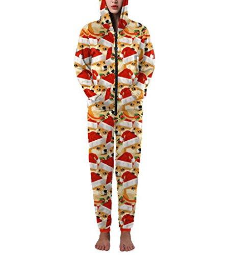ZFANG Weihnachtskleider Pyjamas Set Langarm Baumwolle One Hooded One Piece , 1 , (Friedhof Ghost Erwachsenen Kostüme)