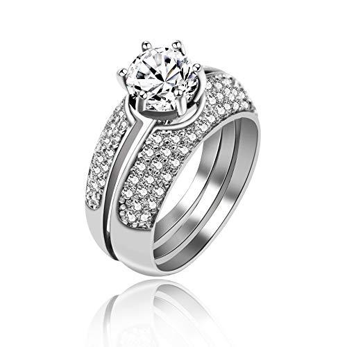 Uloveido Platinum Plated Round Cut Simulierter Diamant Weiß Zirkonia 3 Stück Stapeln Ringe Set, Hochzeit Verlobungsringe Set für Frauen mit Geschenkbox (Größe 52) Y432