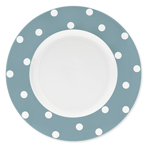 Bruno Evrard Assiette Plate à Pois Bleu Jean en Porcelaine 29cm - Lot de 6 - Freshness Dots
