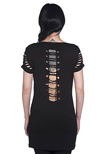 Banned Skeleton Slash Risse Shirt / Top - Girlie, Schwarz Schwarz