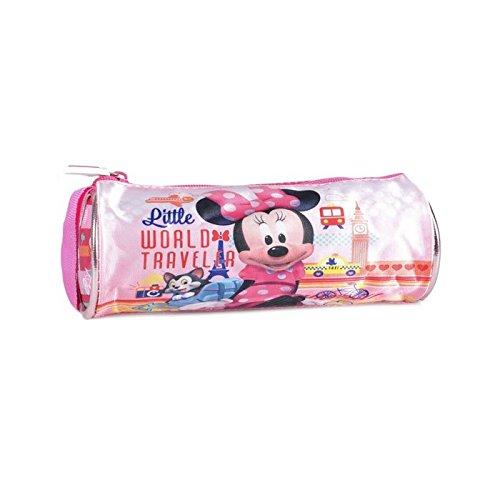 Disney Minnie Mouse para niñas oficial mundo viajero Barrel Pencil Case