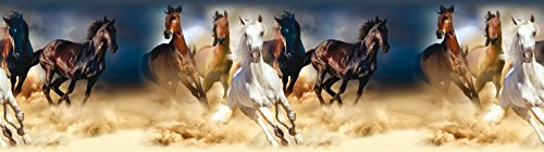 AG Design Selbstklebende Bordüre, 0,14 x 5 m, Pferde, Folie, Colorful, 500 x 14 cm