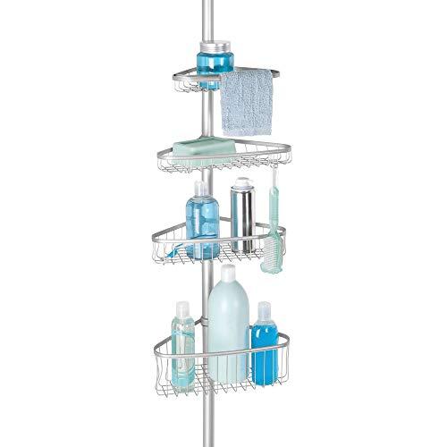InterDesign York Teleskop Duschregal | mit Handtuchhalter und Haken | hochwertige Duschablage ohne Bohren | vierfacher Duschkorb für mehr Stauraum | Metall silber lackiert