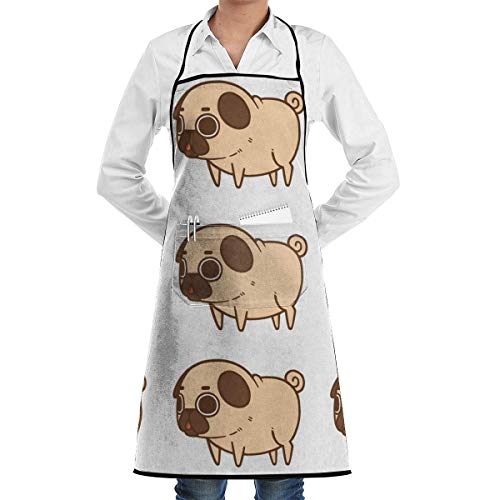 dfgjfgjdfj Dog and Puppy Pattern Schürze Lace Adult Mens Womens Chef Adjustable Polyester Long Full Black Cooking Kitchen Schürzes Bib with Pockets for Restaurant Baking Crafting Gardening BBQ Grill (Adult Puppy Kostüm)