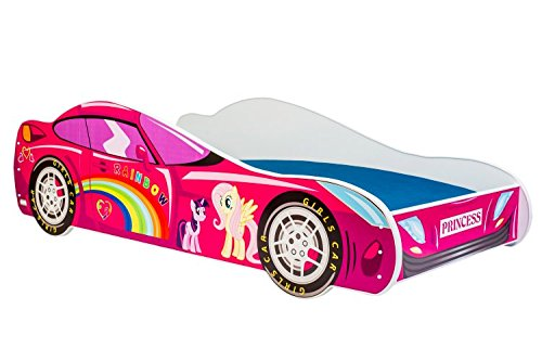 Lettino Per Bambini Letto Auto Ponny Pink 160x80 Con Materasso