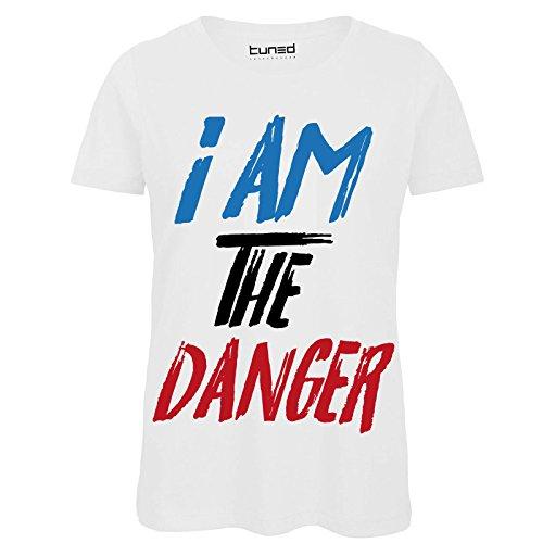 CHEMAGLIETTE! T-Shirt Divertente Donna Maglietta con Stampa Citazioni Serie TV The Danger Tuned Bianco