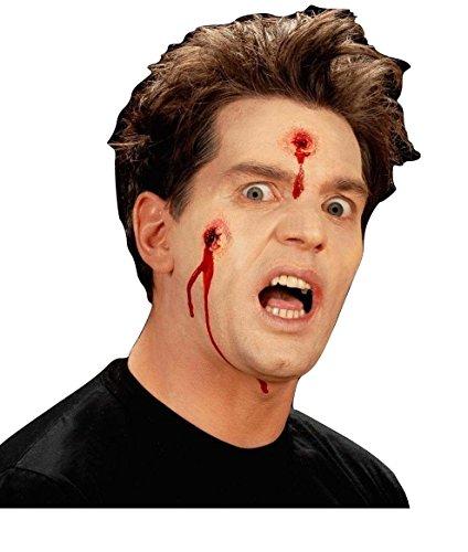 Damen Herren Halloween Klaue Hörner Sfx Kit Handschuhe Lack Maske Kap Makeup Latex Blut Perücke Zubehör (Sfx Bullet Löcher)