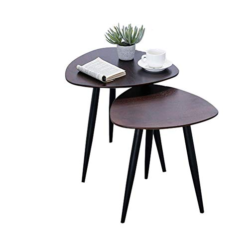 HYLH Side Tables,Tables Small Coffee Table Industrial Style End Nesting Tables with 2 Tops Wood Side Tables with Metal Legs Brown (Color : Walnut, Size : 50 * 50 * 50cm+40 * 40 * 45cm) -