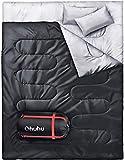 Ohuhu Schlafsack für 2 Personen Groß Doppelte Schlafsack 218 x 150cm Erwachsene Winter Schlafsack (schwarz)