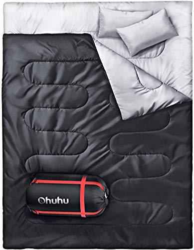 Double Sac de couchage Ohuhu, Nior avec 2 oreillers et un sac de transport pour camping, randonnée pédestre
