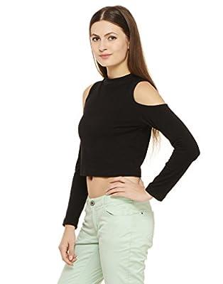 Rigo Women's Cotton Cold Shoulder Crop Top