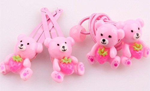 De l'Usine directement, 4 pièces (2 Pince à cheveux corde de cheveux 2) mignon ours Nombril avec motif fraises pour queue de cheval corde maintenir bébé fille cheveux Frange Pince à cheveux pour bébé fille Accessoires cuhair (TM) Bienvenue à Retail ou de