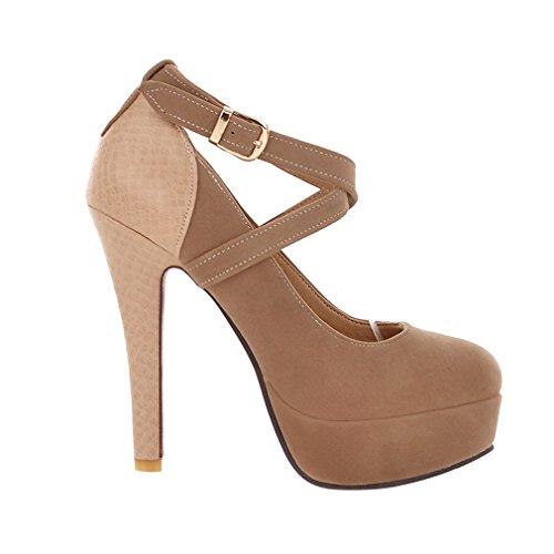 ENMAYER Chaussures de mode pour femmes Chaussures sexy à talons hauts Chaussures de mariage à bout rond Abricot
