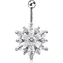 VANKER Gema de el Flores del sol del Rhinestone cristalino Body Piercing ombligo de la joyería del anillo del ombligo (rosa & blanco)