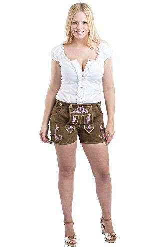 Damen Trachten Lederhose Emma kurz braun oder pink - Trachtenlederhose Hotpants Lederhose ink. Hosenträger Pink