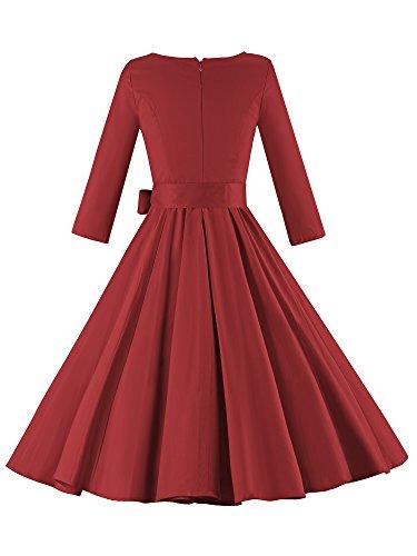 LUOUSE Damen Elegante 3/4 Ärmel 50er Retro Cocktailkleid Rockabilly Party Vintage Kleid WineEed