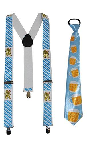 Karneval Klamotten Hosenträger Oktoberfest Karneval Oktoberfest Herren INKL. Krawatte Oktoberfest (Bier Kostüm Baby)