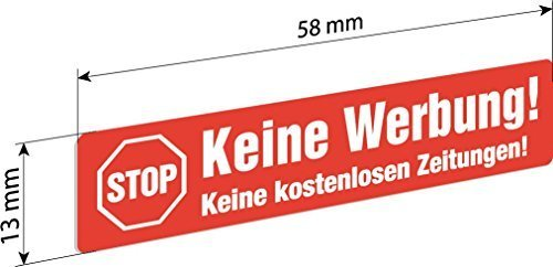 6 Keine Werbung Einleger 58x13mm z.B. für Renz Briefkästen - Gegen Briefkasten-Werbung