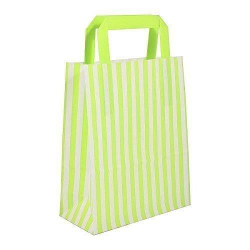 20 X Grün Candy Streifen Papier-Träger Taschen mit Flache Griffe - 25cm X 30cm X 14cm - Wecansourceit (Interior Flache Tasche)