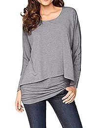 Longra Damen 2 in 1 Optik Shirt Langarmshirt Rundhals Casual Tunkia Große  Größen Longshirt Asymmetrisch Oberteil Top… cd12960eaa