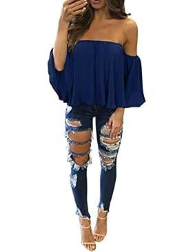 QinMM Blusa de Mujer con Hombros Descubiertos, Camiseta de Verano con Manga Corta Pullover