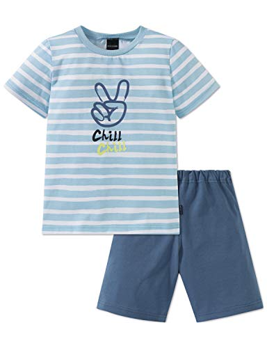 Schiesser Jungen Rat Henry Kn Anzug kurz Zweiteiliger Schlafanzug, Blau (Hellblau 805), Herstellergröße: 116