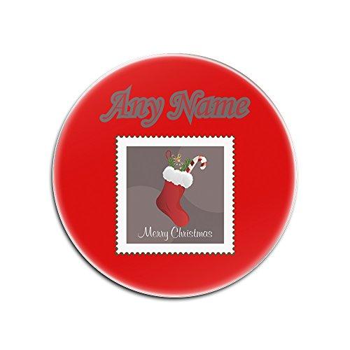 unigift Personalisiertes Geschenk-Set von 4x Weihnachtsstrumpf Stamp Rund Glas Untersetzer (Merry Xmas Design Thema, Farbe Optionen)-Alle Nachricht/Name auf Ihre Einzigartige-Candy Socke