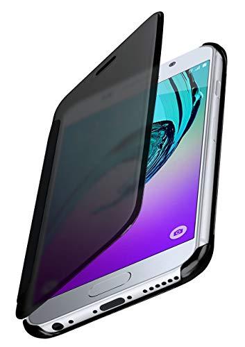 moex Samsung Galaxy A3 (2016) | Hülle Transparent TPU Void Cover Dünne Schutzhülle Anthrazit Handyhülle für Samsung Galaxy A3 2016 Case Ultra-Slim Handy-Tasche mit Sicht-Fenster