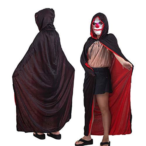 Allinlove Damen Herren Halloween Umhang Karneval Fasching Kostüm Cape Schwarz Rot Doppelseitig mit Kapuze für Cosplay Halloween Kostüm Erwachsener Unisex (Böses Mädchen Cheerleader Kostüm)