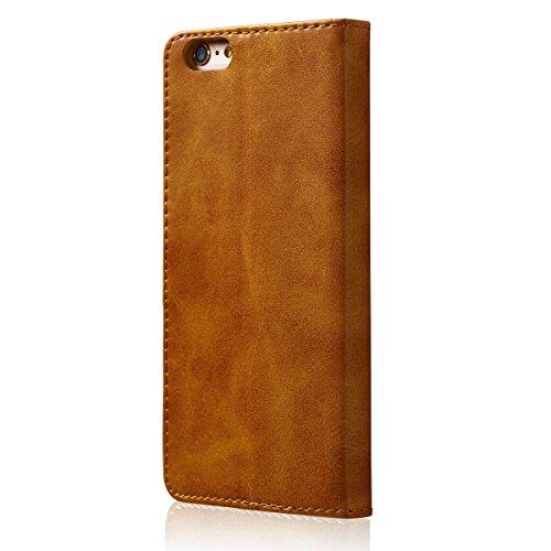 FindaGift iPhone 6 / iPhone 6s 4.7 inch Hülle, Calf Grain Klassisch PU Leder Wallet Case mit Flip Standfunktion und Kartensteckplätze Magnetic Closure Cover Anti-drop Schutzwache Case Mode Stoßfest Co Gelb