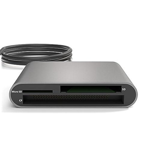 KabelDirekt Lecteur de cartes mémoire lecteur de carte / Card Reader USB 3.0 pour SDXC, SDHC, SD, MMC, MMCplus, microSDXC, microSDHC, microSD, CF type I/ II, Microdrive – PRO-Series