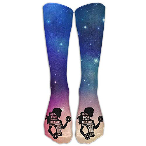 (ruichangshichengjie Gym Decal Time to Change Your Body Girl Casual Unisex Sock Knee Long High Socks Sport Athletic Crew Socks One Size 50CM)